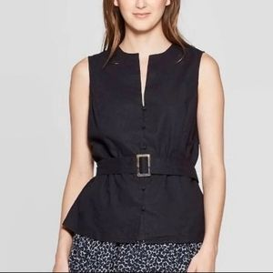 Who What Wear Linen blend sleeveless belted